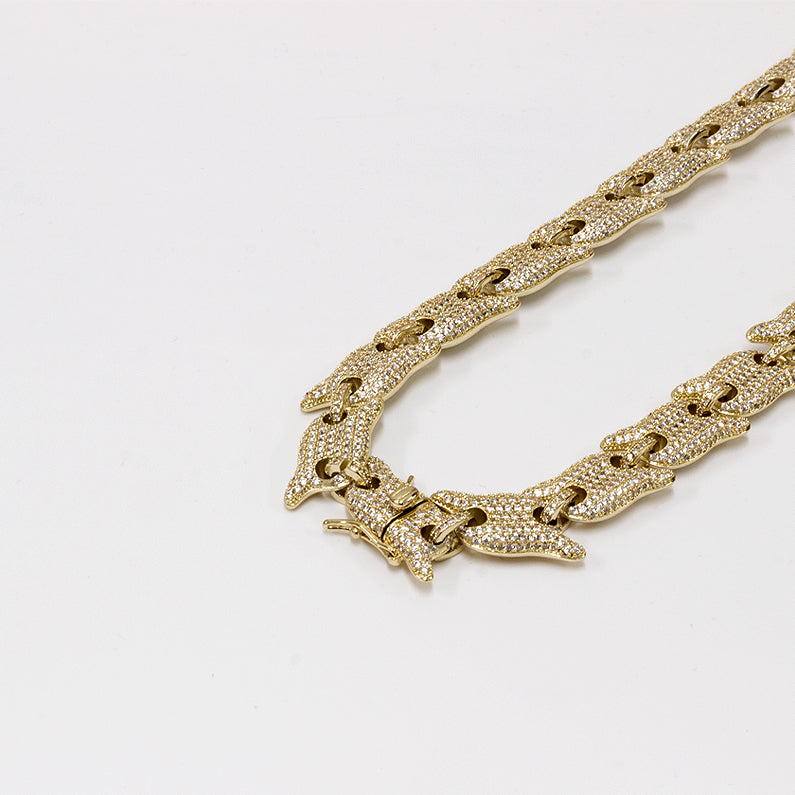 Iced Out Thick Link Gold Chain