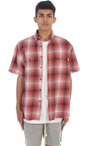 S/S Side Zip Flannel- Pink