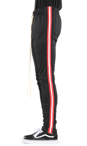 Taped Track Pants- Black/Red