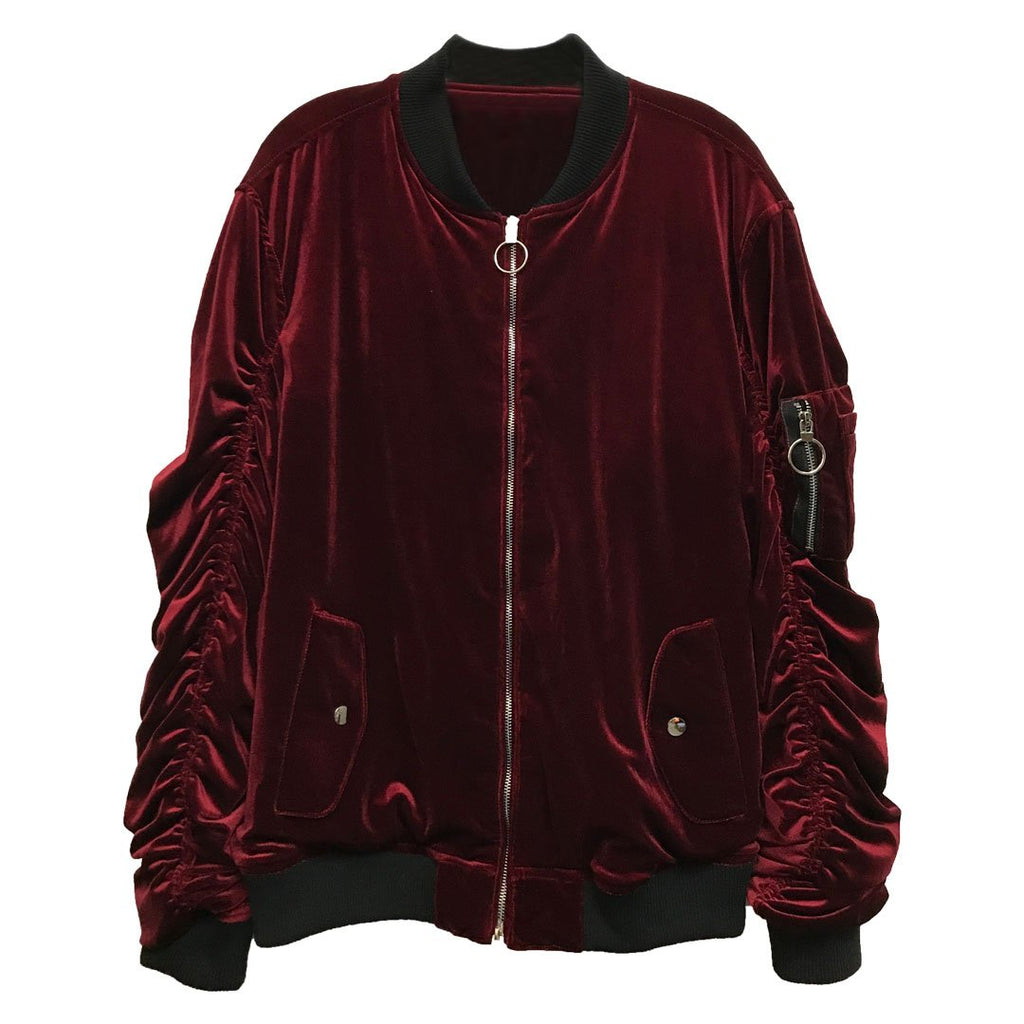Burgundy Velour Bomber Jacket