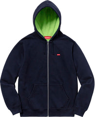 Supreme Contrast Zip Up Hooded Sweatshirt- Navy