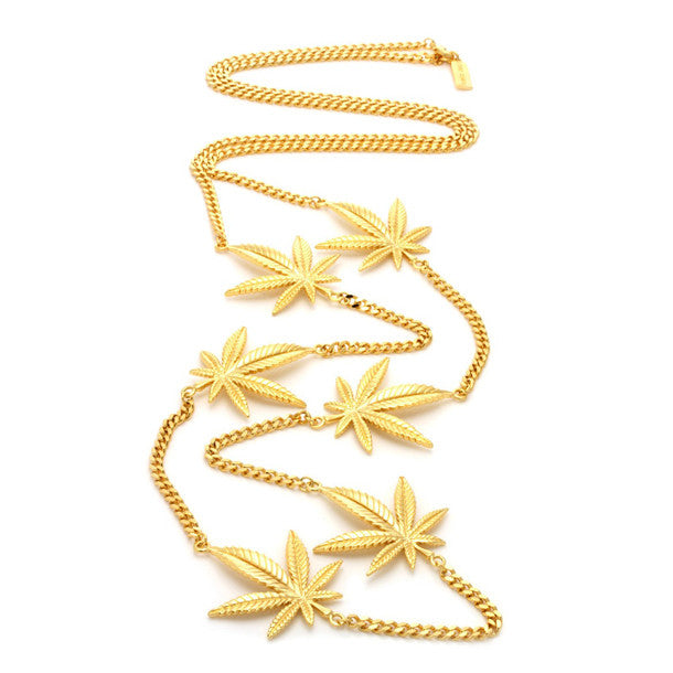 Jungl Julz 18K Gold Weed Leaf Charm Necklace