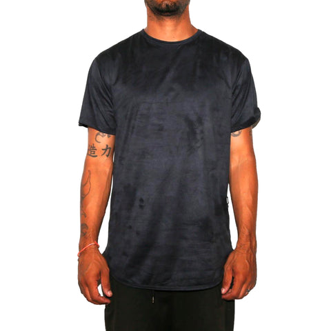Navy Crushed Velvet Scallop Tee