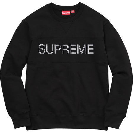 SUPREME Zig Zag Stitch Panel Crewneck - Black