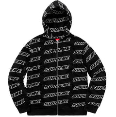 Supreme Repeat Zip Up Hooded Sweatshirt- Black