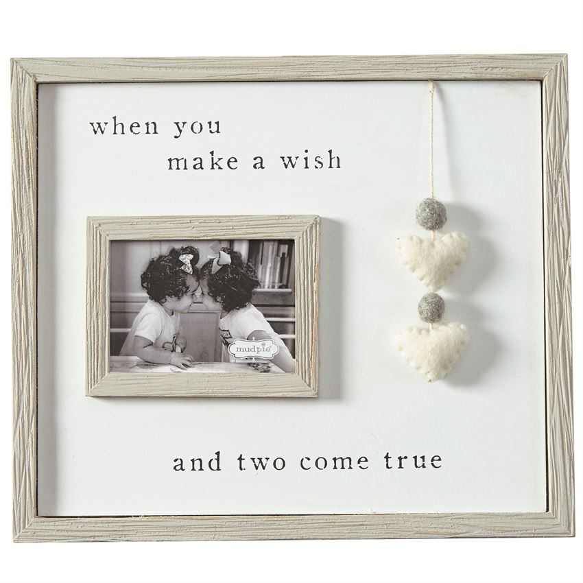 Mud Pie Keepsake Baby Frames Pom Heart Twin Frame
