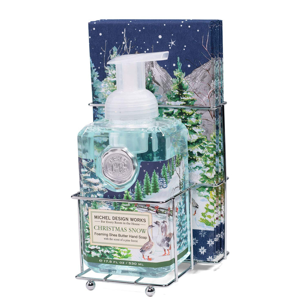 Michel Design Works Scented Foaming Hand Soap and Napkin Caddy Set, Christmas Snow