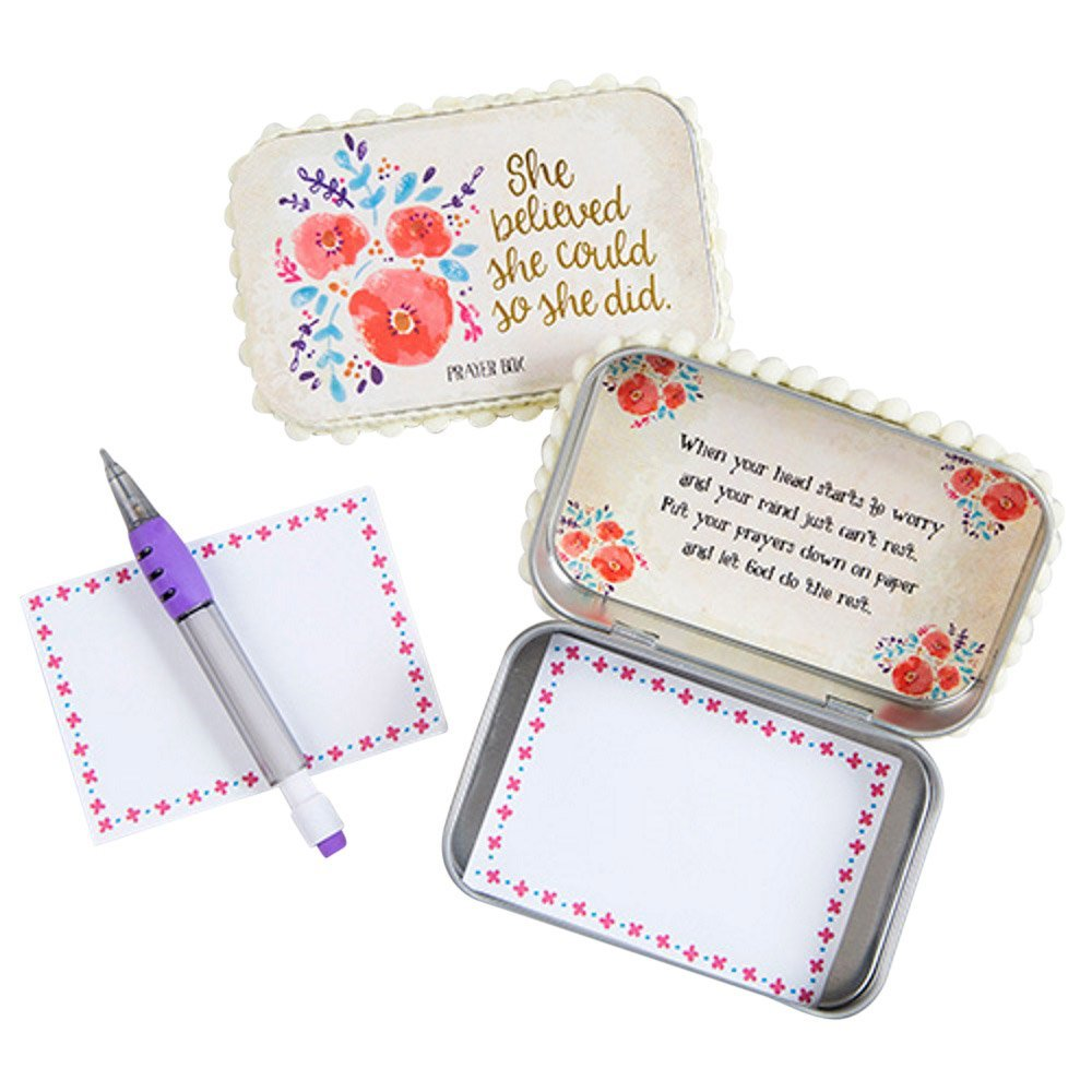 "Natural Life ""She Believed She Could So She Did"" Floral Prayer Box with Pencil & Notepad"