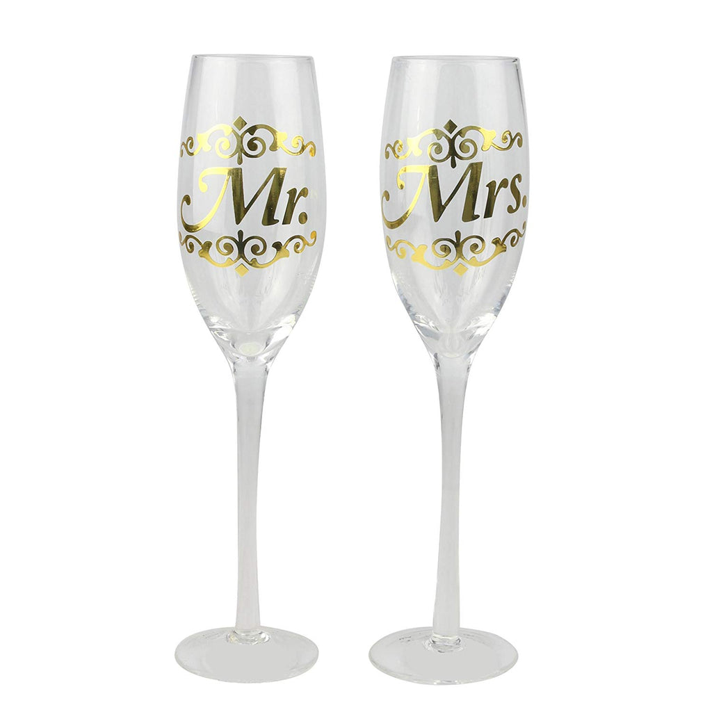 Top Shelf Decorative Gold Mr and Mrs Champagne Glass Flutes, Set of 2