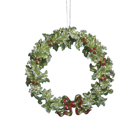 Kurt Adler Green Wreath Ornament, 5""