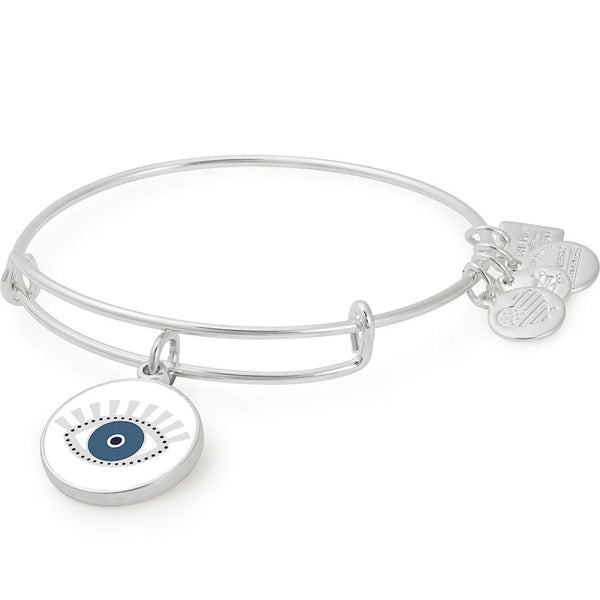Alex and Ani Meditating Eye Color Infusion Charm Bangle Shiny Silver