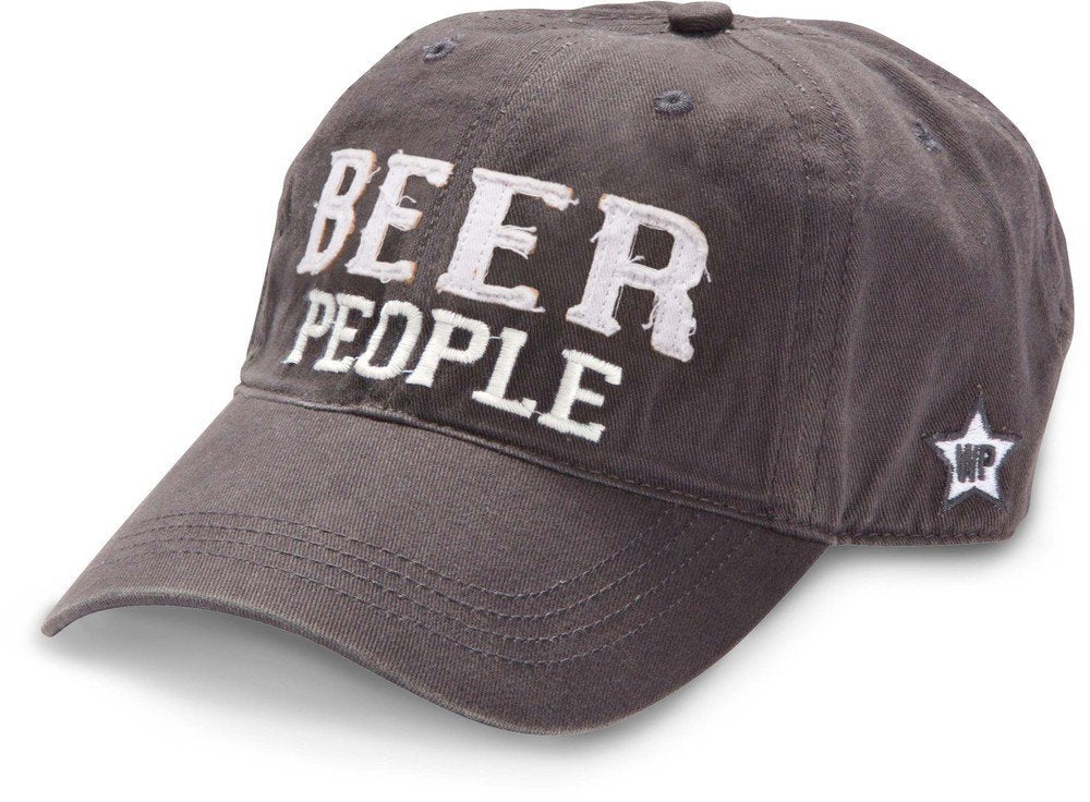 Pavilion Gift Company We People Beer People Baseball Cap Hat with Adjustable Strap, Gray