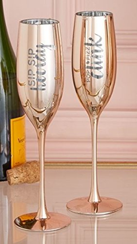Two's Company Set of 2 Metallic Glass Champagne Flutes (Sip Sip/Pop Fizz)