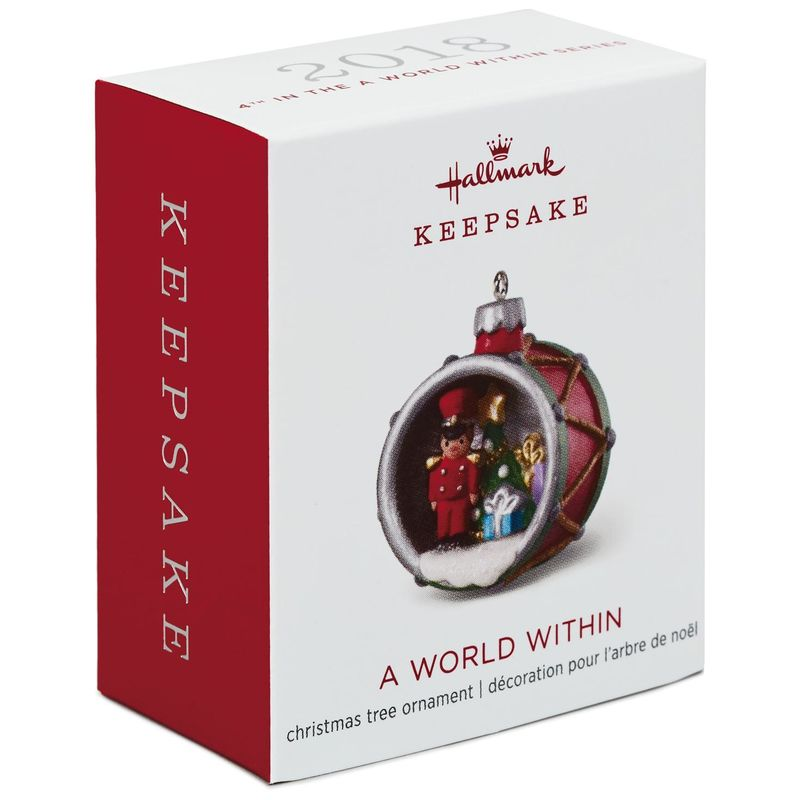 Hallmark Keepsake 2018 Mini A World Within Toy Soldier in Drum Ornament, 1.38""