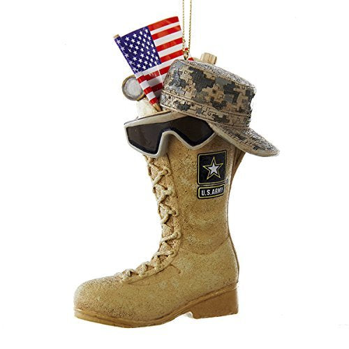 Kurt Adler U.S. Army Boot with USA Flag and Icons Hanging Ornament