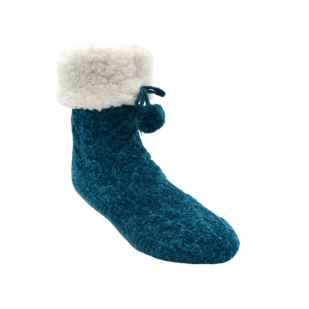 Pudus Slipper Socks Women w/Non-Slip Grippers, Faux Fur Sherpa Fleece Lining Chenille Cable Knit Oxford