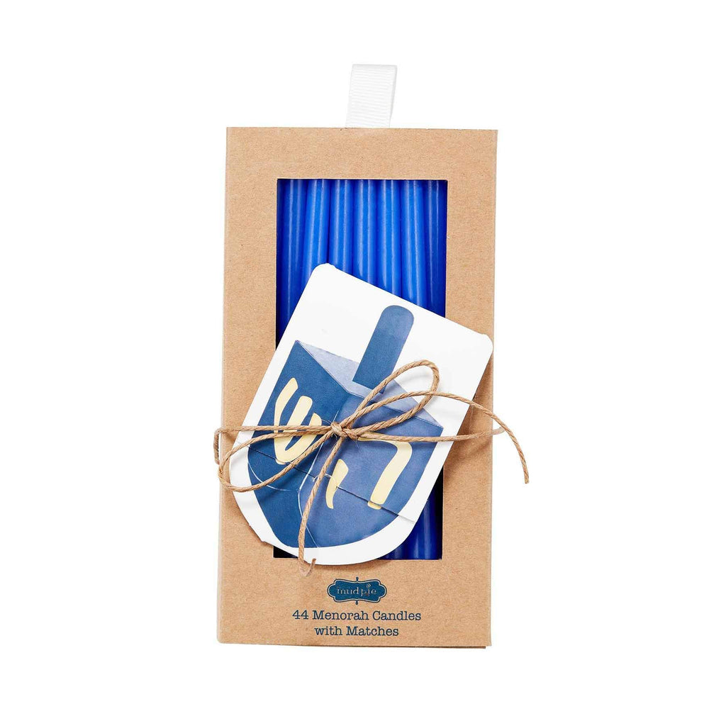 Mud Pie Dreidel Design Pack of 44 Menorah Candles with Matches Set of 2