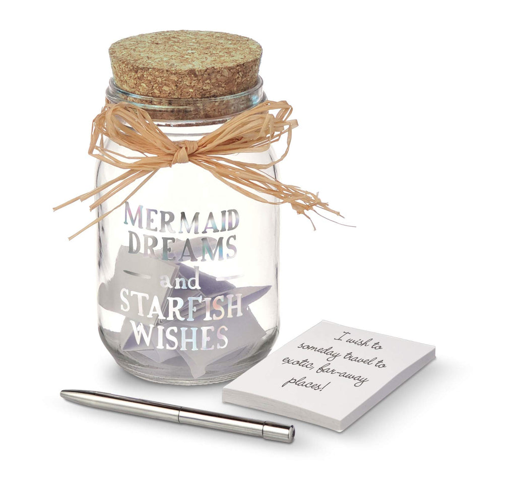 Grasslands Road Mermaid Dreams and Starfish Wishes Jar with Notepad & Pen