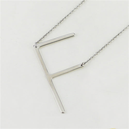 Cool And Interesting Silver Large Sideways Initial Necklace - F