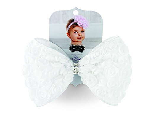 Mud Pie Kids Baby-Girls White Rosette Bow Soft Headband, 12 Months