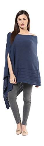 Darzi Modern Stripe Poncho, Midnight Blue