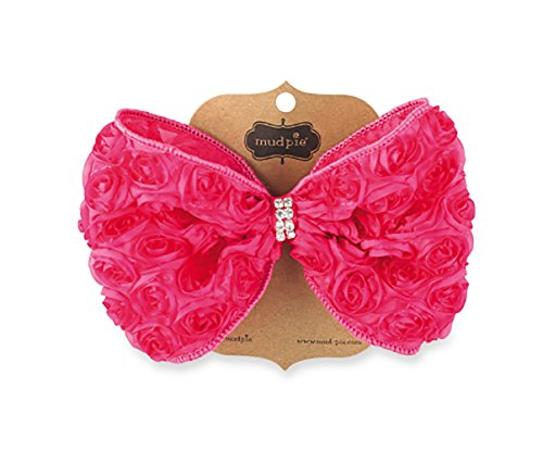 Mud Pie Kids Baby-Girls Pink Oversized Rosette Bow, 12 Months