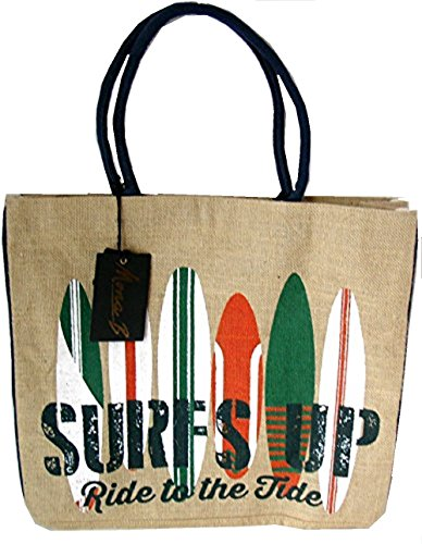 Mona B Surfs Up Burlap Tote Bag BL-248