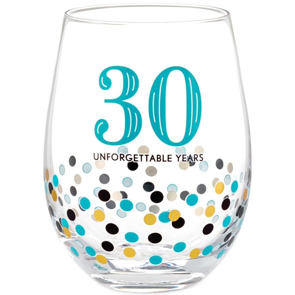 Hallmark 30 Unforgettable Years Confetti Stemless Wine Glass