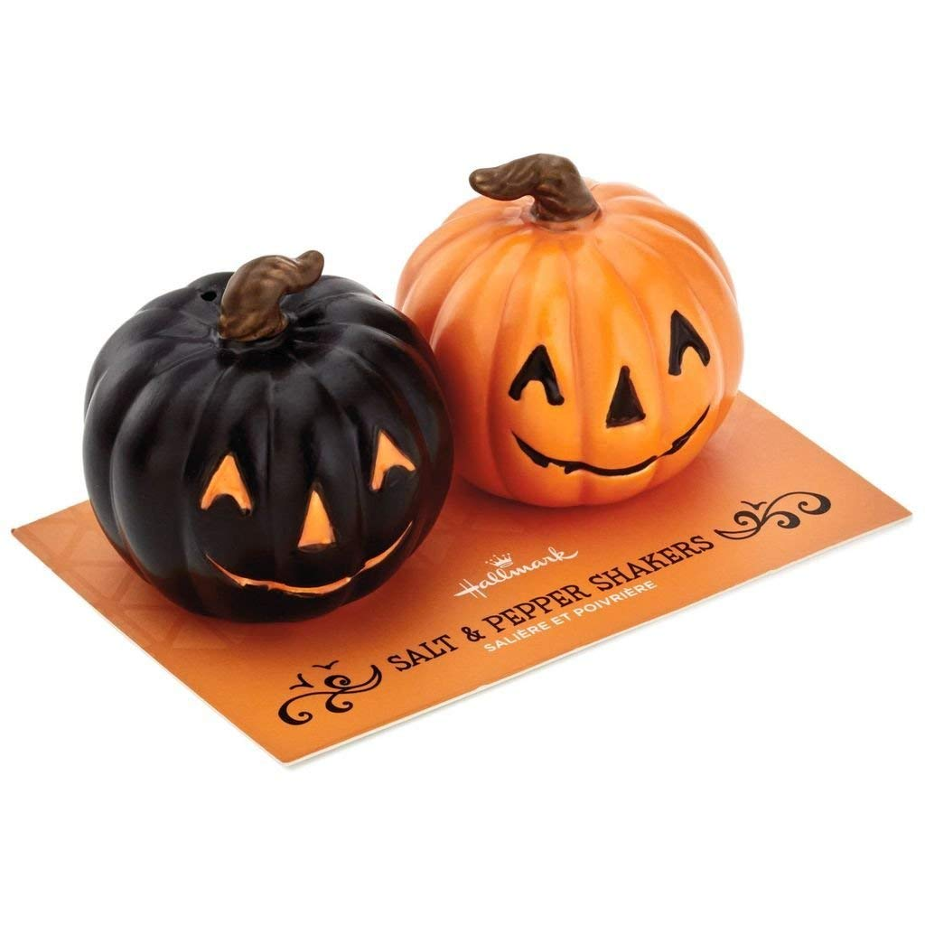 HMK  Hallmark Jack-O'-Lantern Salt and Pepper Shakers, Set of 2
