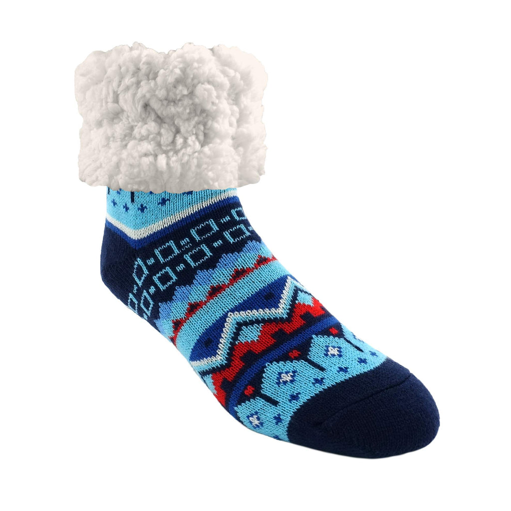 Pudus Nordic Blue Cozy Winter Slipper Socks for Women and Men with Non-Slip Grippers and Faux Fur Sherpa Fleece - Adult Regular Fuzzy Socks Classics Nordic Blue Classics