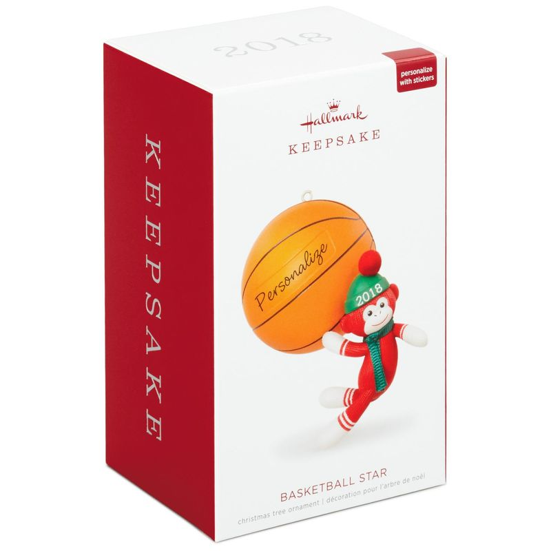 Hallmark Keepsake 2018 Basketball Star Sock Monkey Personalization Ornament