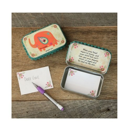 "Natural Life Prayer Box Elephant ""Be Happy"" with Pencil & Notecards"