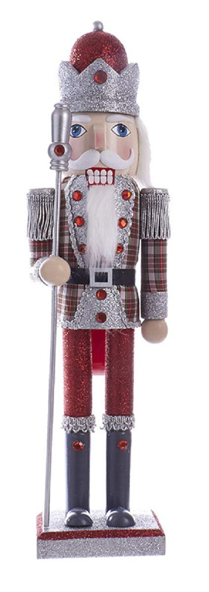 "Kurt Adler C4874 15"" Red and Grey Plaid King Nutcracker with Staff"