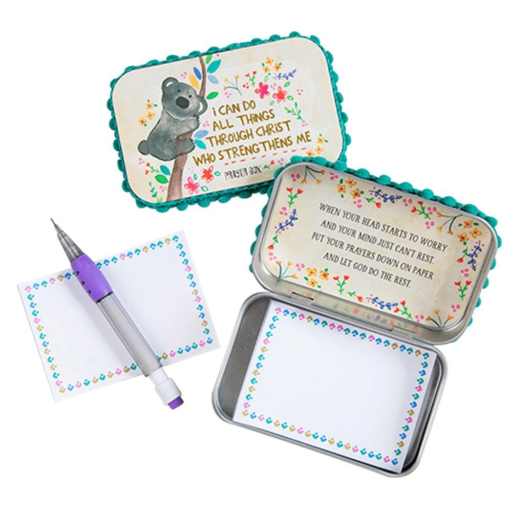 "Natural Life ""I Can Do All Things Through Christ"" Prayer Box with Pencil & Notepad"