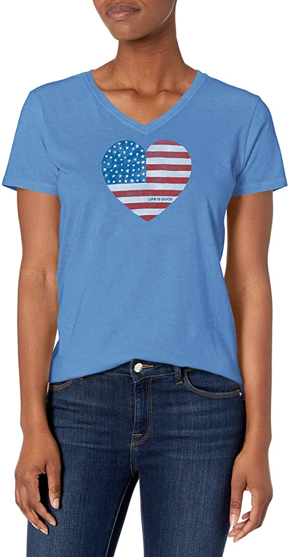 Life is Good Womens Crusher America Graphic V-Neck T-Shirt, Flag Vintage Blue, Large
