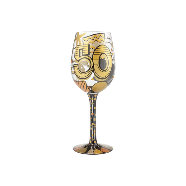 Enesco 6000738 Designs by Lolita Hand-Painted Artisan, 15 oz. 50th Birthday Wine Glass, 15 Ounces, Multicolor