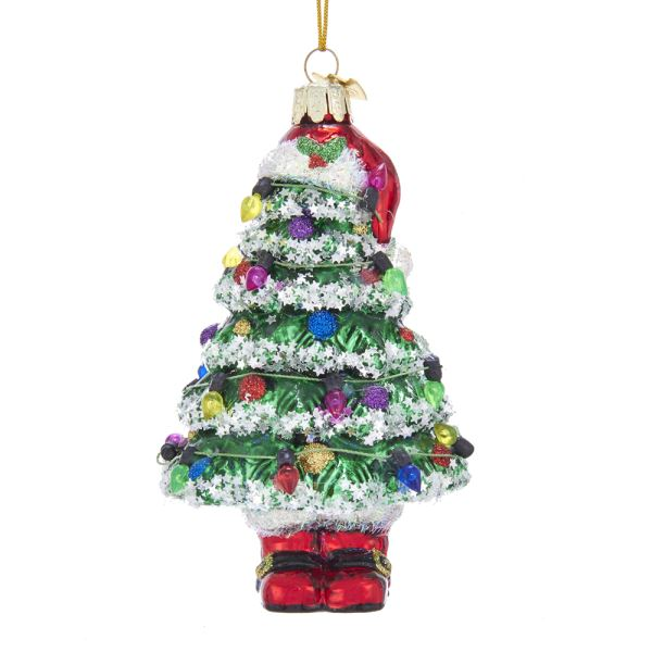 "Kurt Adler Noble Gems"" Christmas Tree With Santa Hat and Boots Glass Ornament"