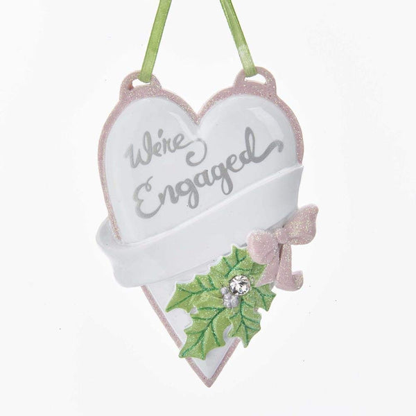 "Kurt Adler ""We're Engaged"" Heart Ornament"