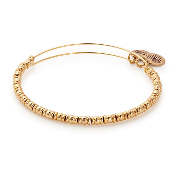Alex and Ani Rocker Beaded Bangle Shiny Gold