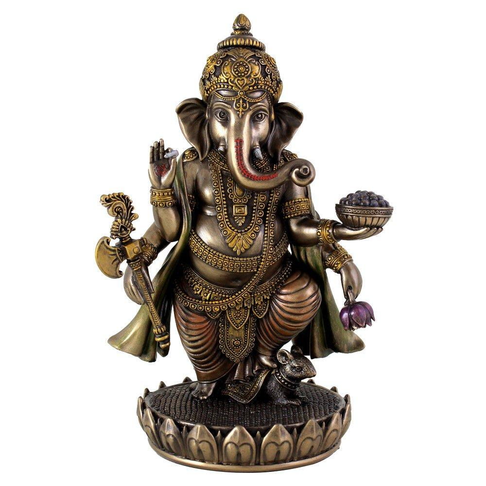 7.5 Inch Standing Ganesh Statue Figurine, Cold Cast Bronze Colored