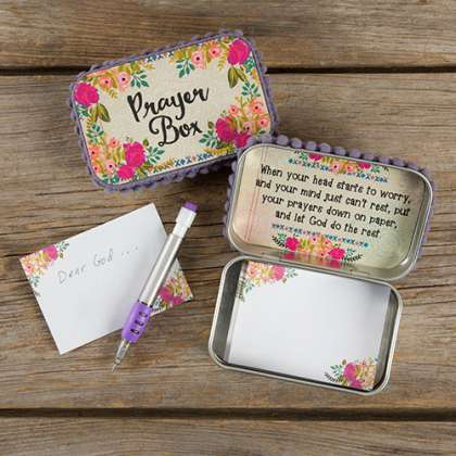 Natural Life Cream & Pink Roses Prayer Box with Pencil and Notecards