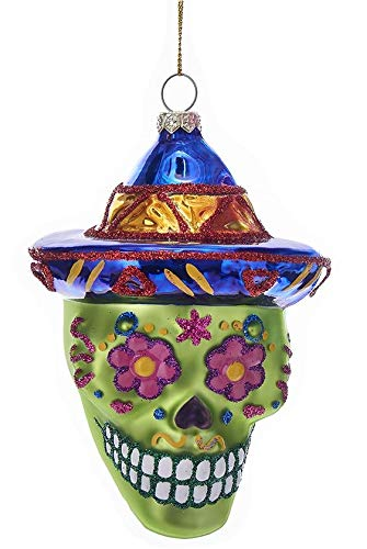 Kurt Adler Glass Ornament with S-Hook and Gift Box, Sugar Skull Collection (Blue Hat, NB1297)