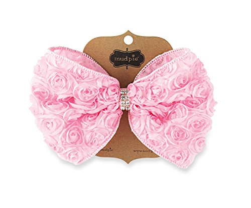 Mud Pie Kids Baby-Girls Light Pink Oversized Rosette Bow, 12 Months