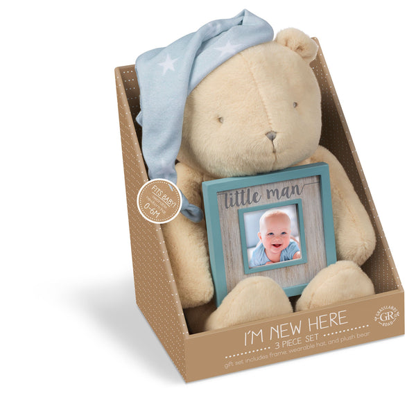 "Grasslands Road Bear Plush with Hat and""Little Man"" Frame Set - Baby Photo Frame - Newborn Gifts, Fabric/MDF, Plush 10 1/2 Inch, Hat Fits 0-6 Months, Holds 2 1/4 by 2 1/4 Inch Photo, Gift Package"