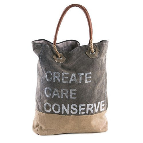 "Mona B Vintage Eco Inspired ""Create Care Conserve"" Recycled Canvas Bag M-2851"