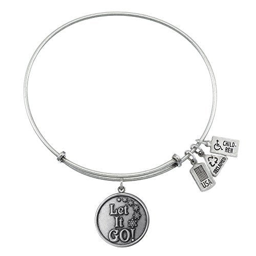 Wind and Fire Let it Go Charm Bangle Silver-tone Finish