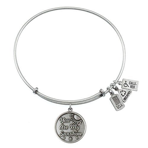 Wind and Fire You are My Sunshine Charm Bangle Silver Tone Finish