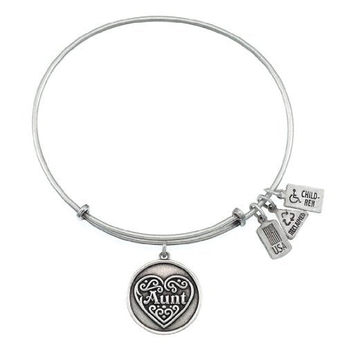 Wind and Fire Aunt Filigree Heart Charm Bangle Silver Finish