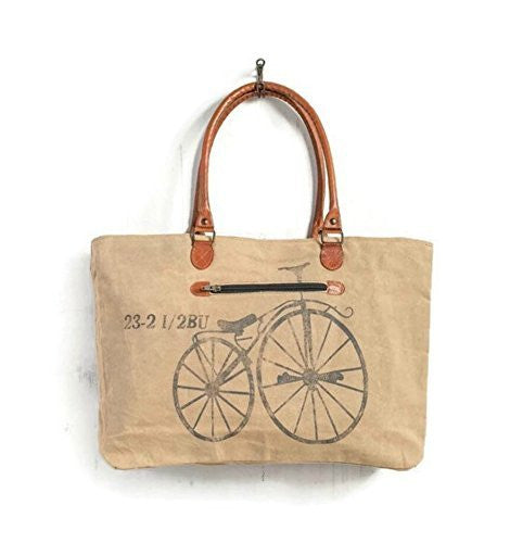 Mona B Vintage Bicycle Canvas Tote Bag M-2159