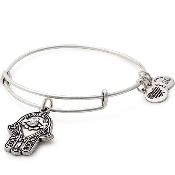 Alex and Ani Hand of Fatima Charm Bangle, Silver